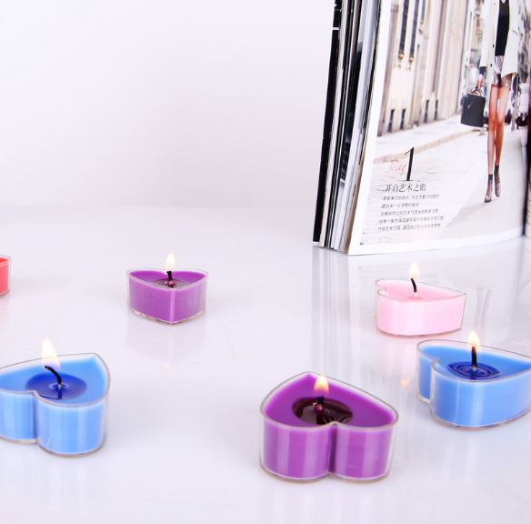 Heart-shaped scented candles, PVC box, DIY confes