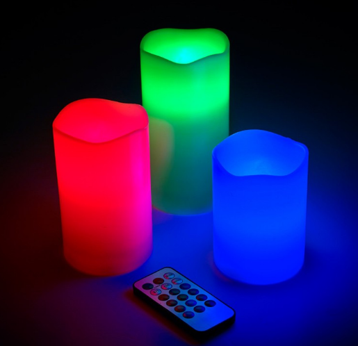 Electronic color changing led candle