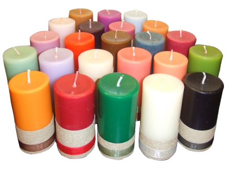 natural scented colorful pillar candle fo
